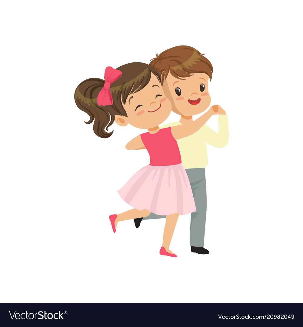 5e0e35abf Cute little boy and girl dancing Royalty Free Vector Image