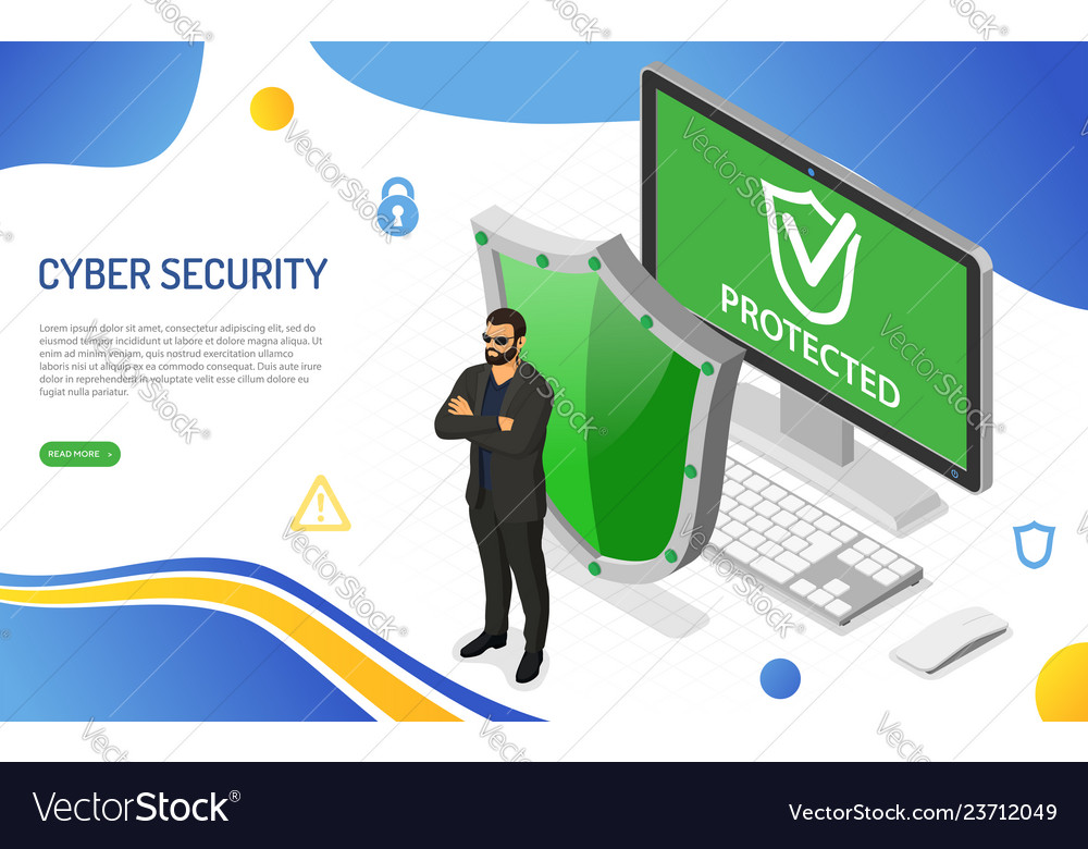 Cyber security isometric concept