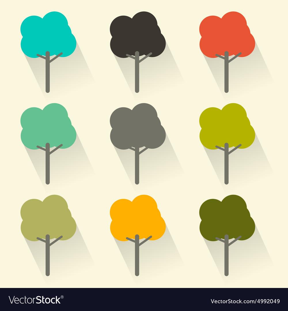 Flat Design Trees Set