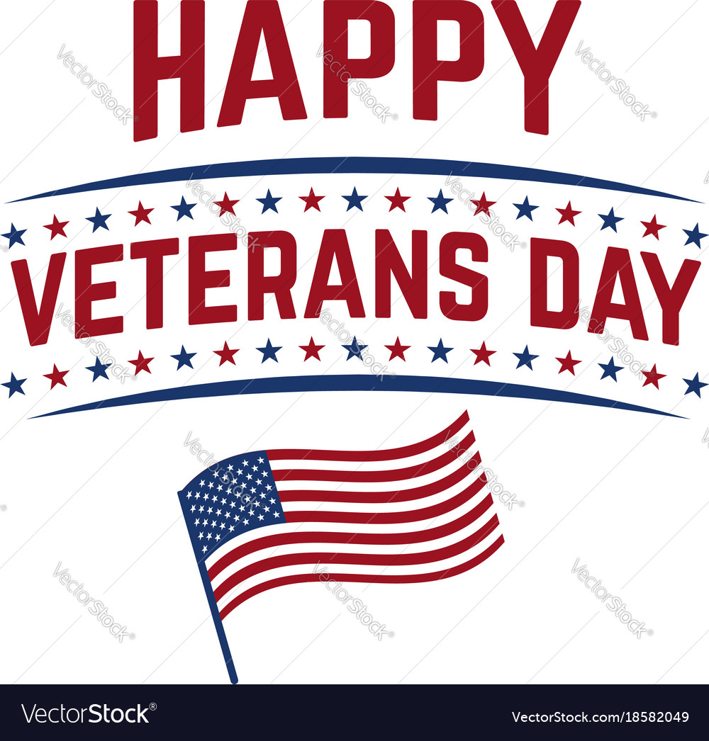 Happy Veterans Day Emblem Template Isolated On Vector Image