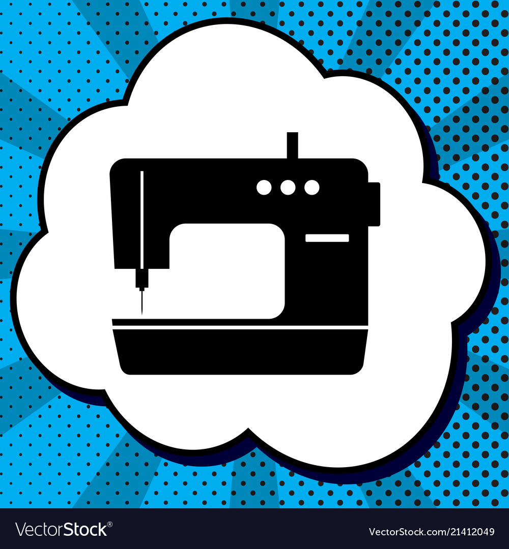 Sewing machine sign black icon in bubble