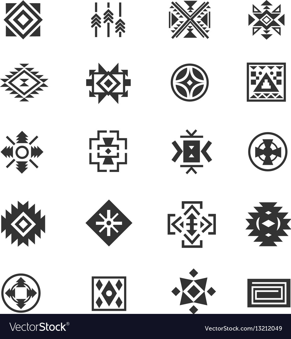 7ce914bfd7c4b Traditional tribal mexican symbols navajo ethnic Vector Image