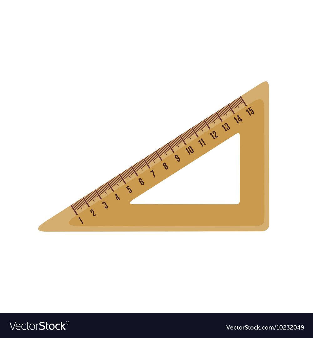 Triangle ruler icon in flat style