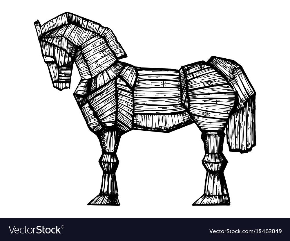 Trojan Horse Engraving Vector Image