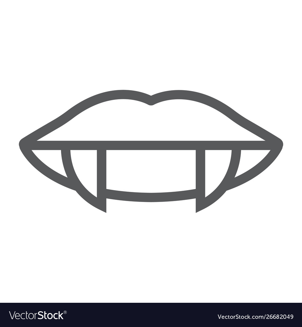 Vampire Teeth Line Icon Female And Mouth Lips