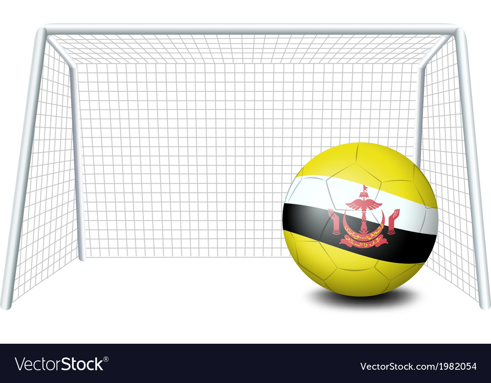 A soccer ball near the net with the Brunei flag