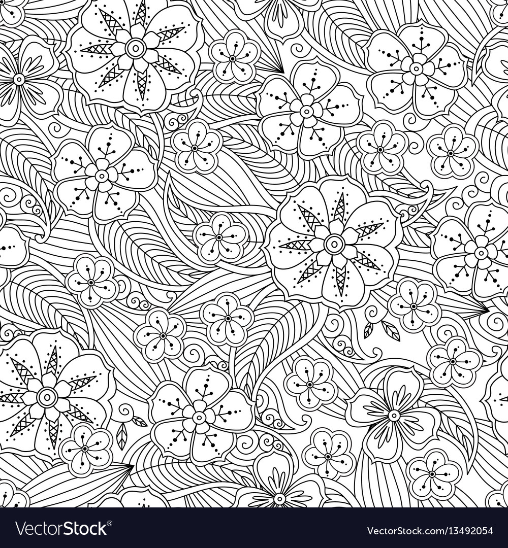 Abstract hand drawn outline seamless pattern with