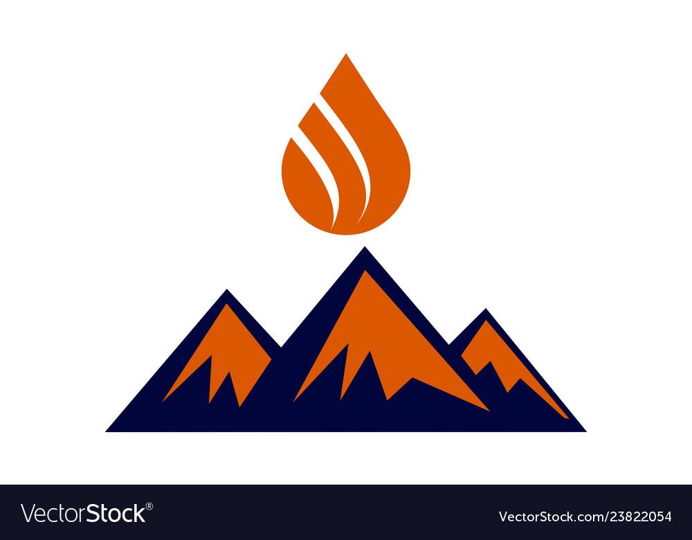 Abstract mountain fire logo icon