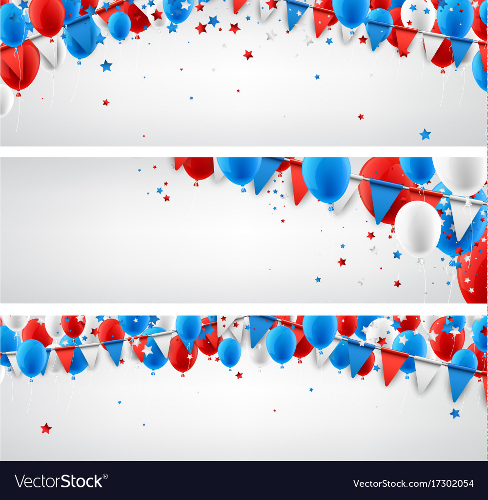 Banners set with balloons and flags vector image