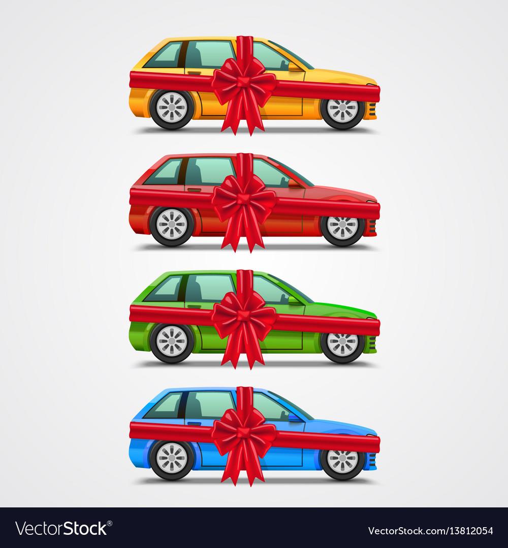 Car gift color set template design element vector image