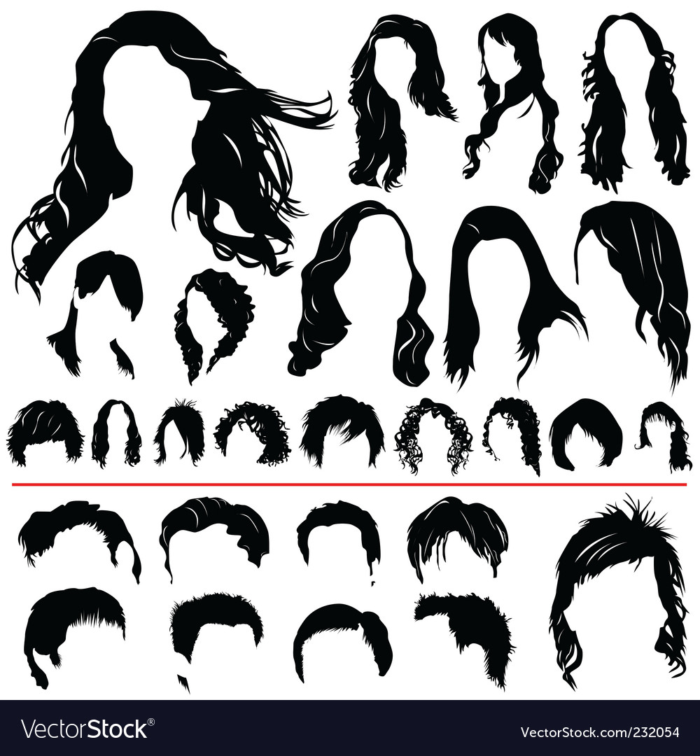 Wedding Hair Style Black Vector Art: Hair Set Royalty Free Vector Image