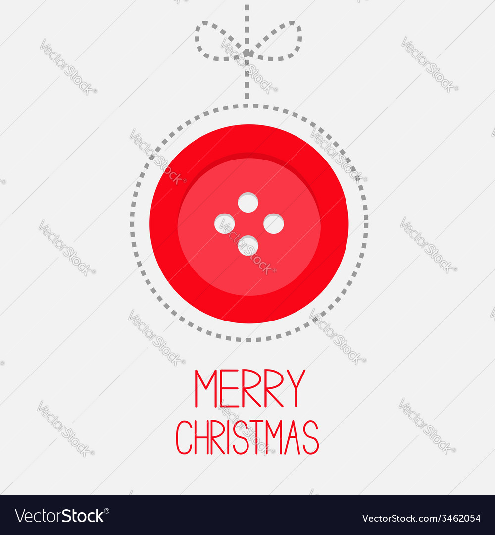 Hanging red button ball with bow dash line thred vector image