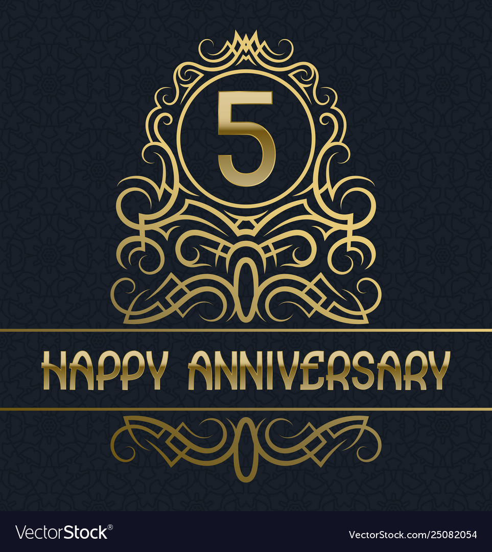 Happy anniversary greeting card template for five Vector Image
