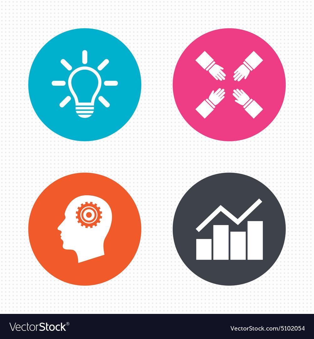 Lamp idea Graph chart diagram Head with gear