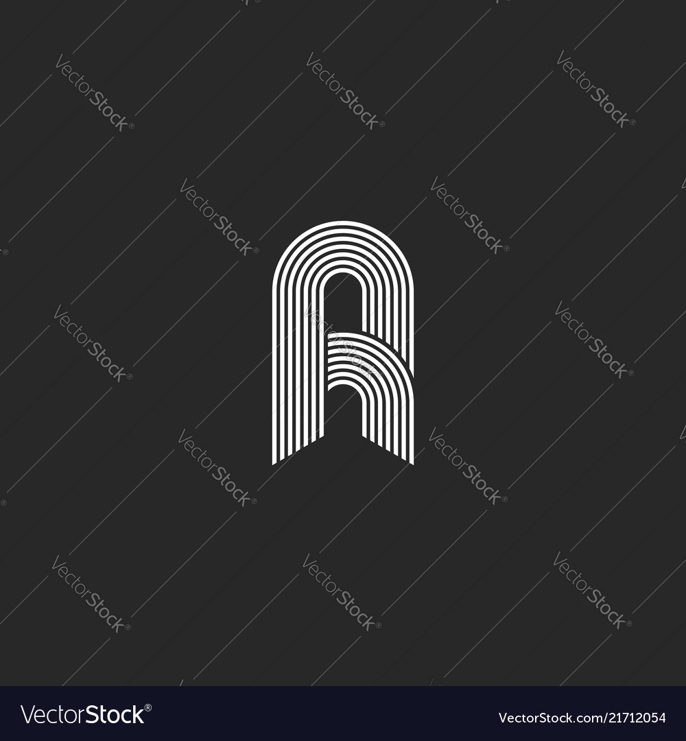 Letter a or r logo monogram the initial of smooth