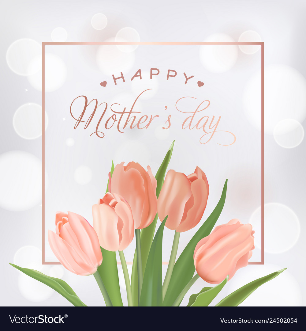 Mothers day banner template with tulips flowers