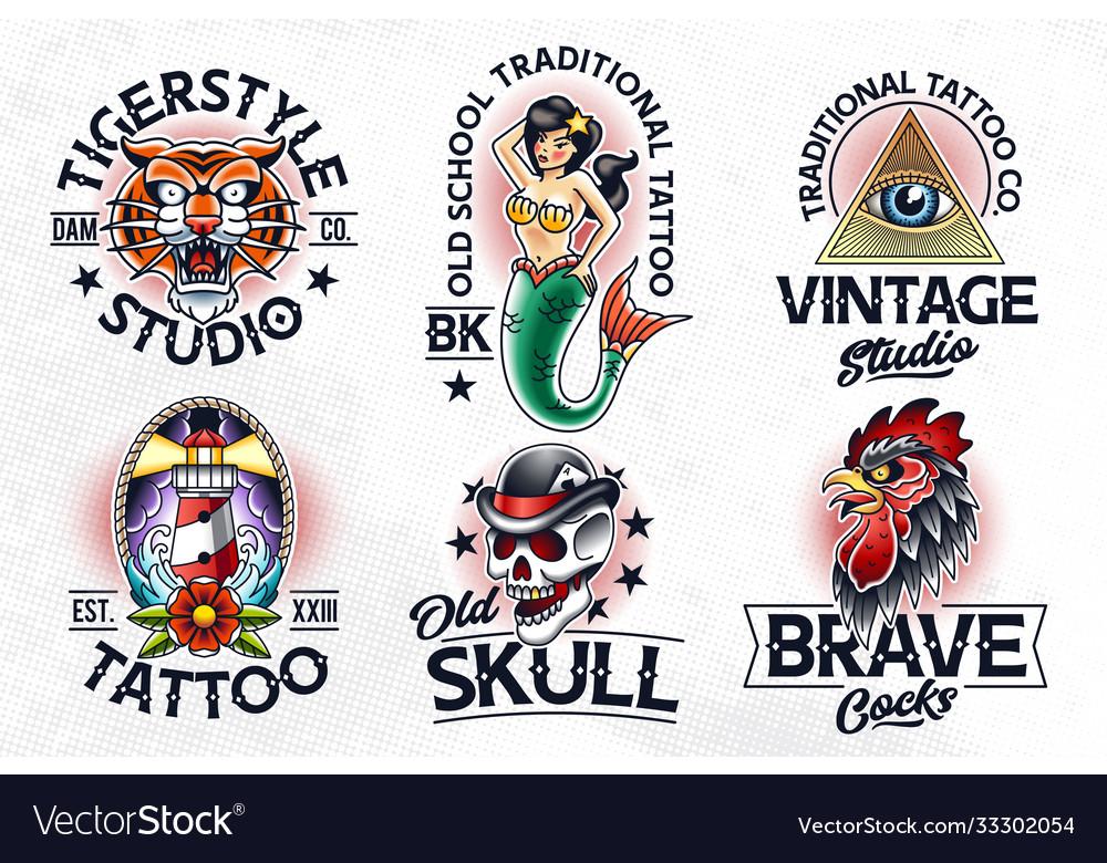 Old school tattoo emblems