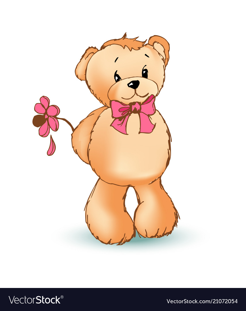 Romantic teddy bear and flower