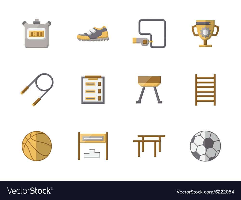 School Sports Equipment Flat Color Icons