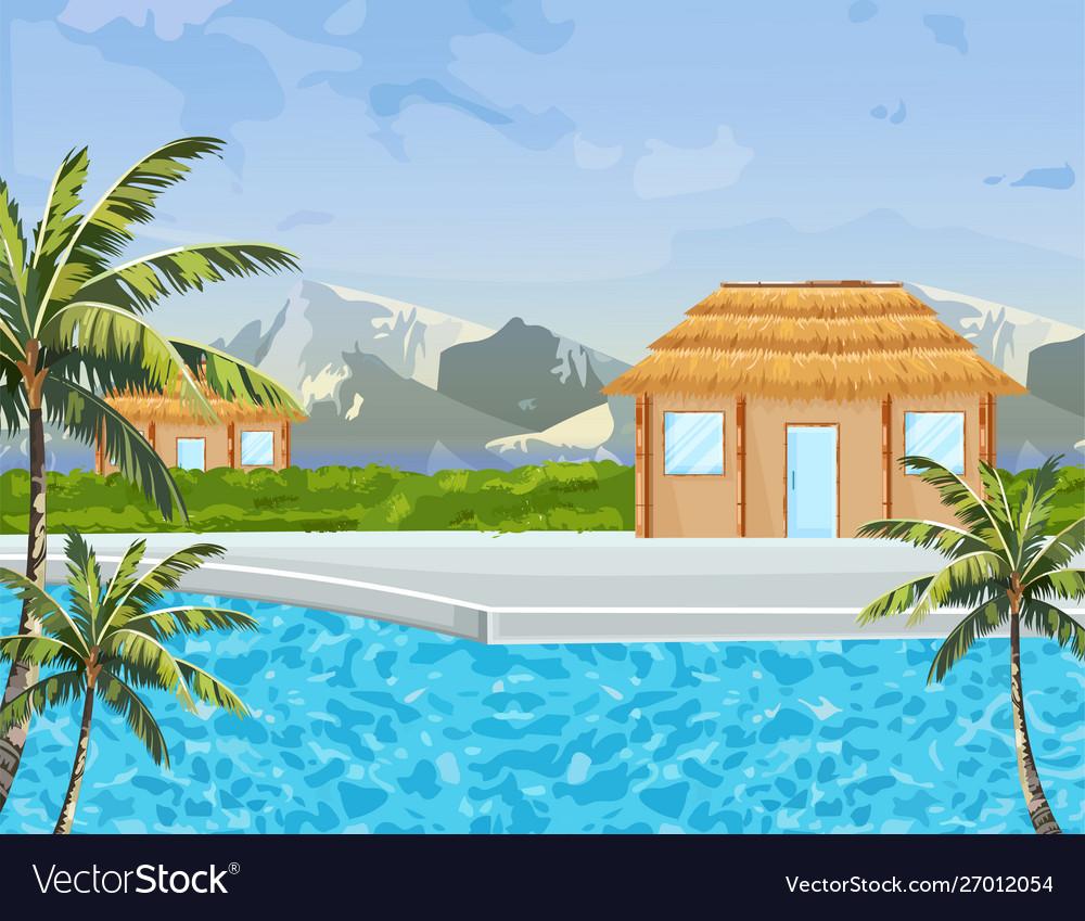 Seaside houses summer background tropic paradise