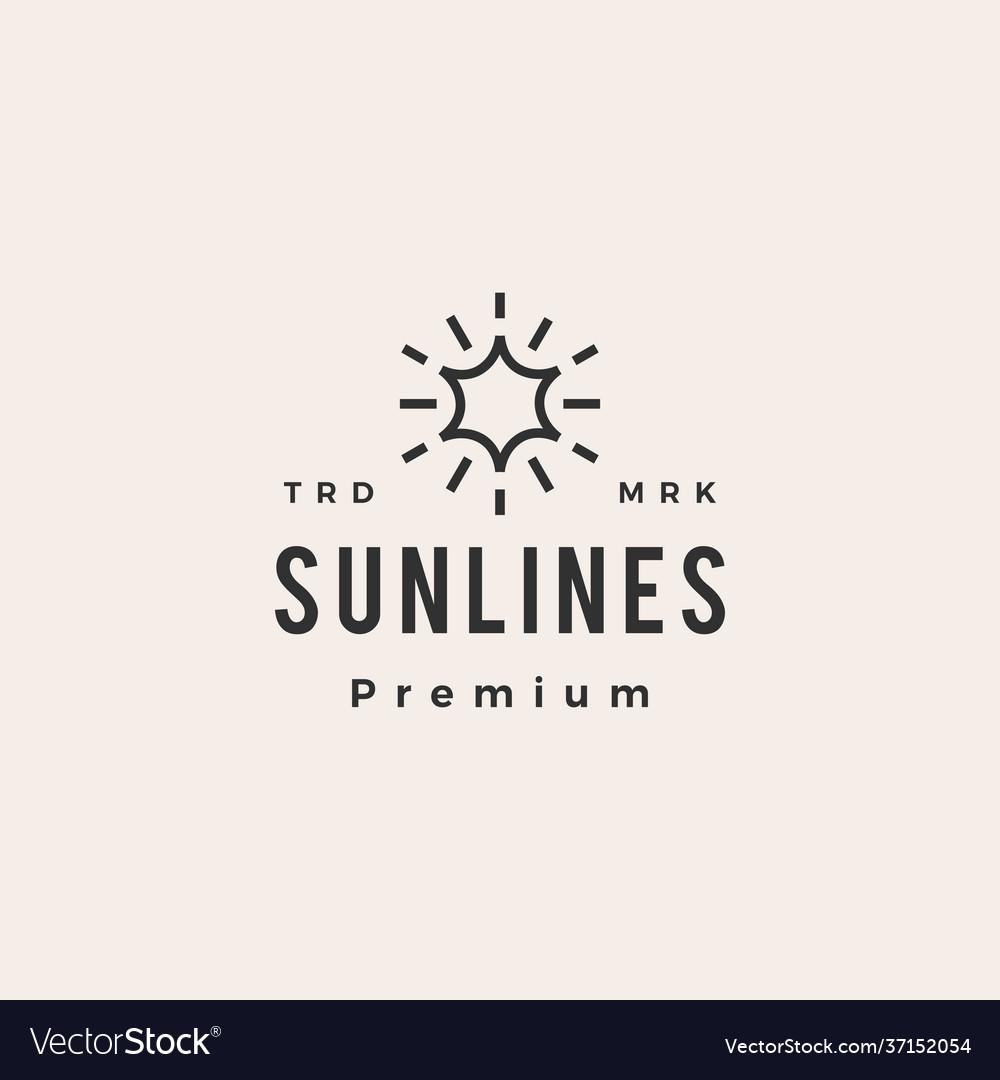 Sun line hipster vintage logo icon