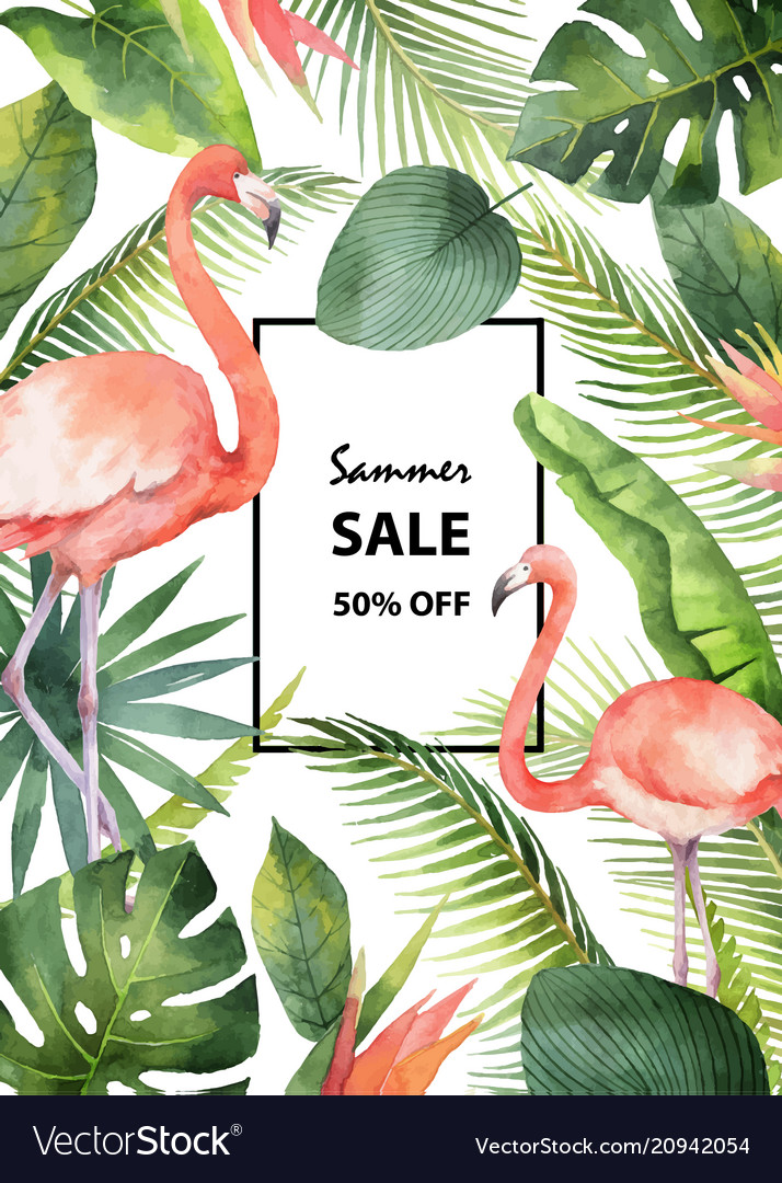 Watercolor summer sale banner of tropical