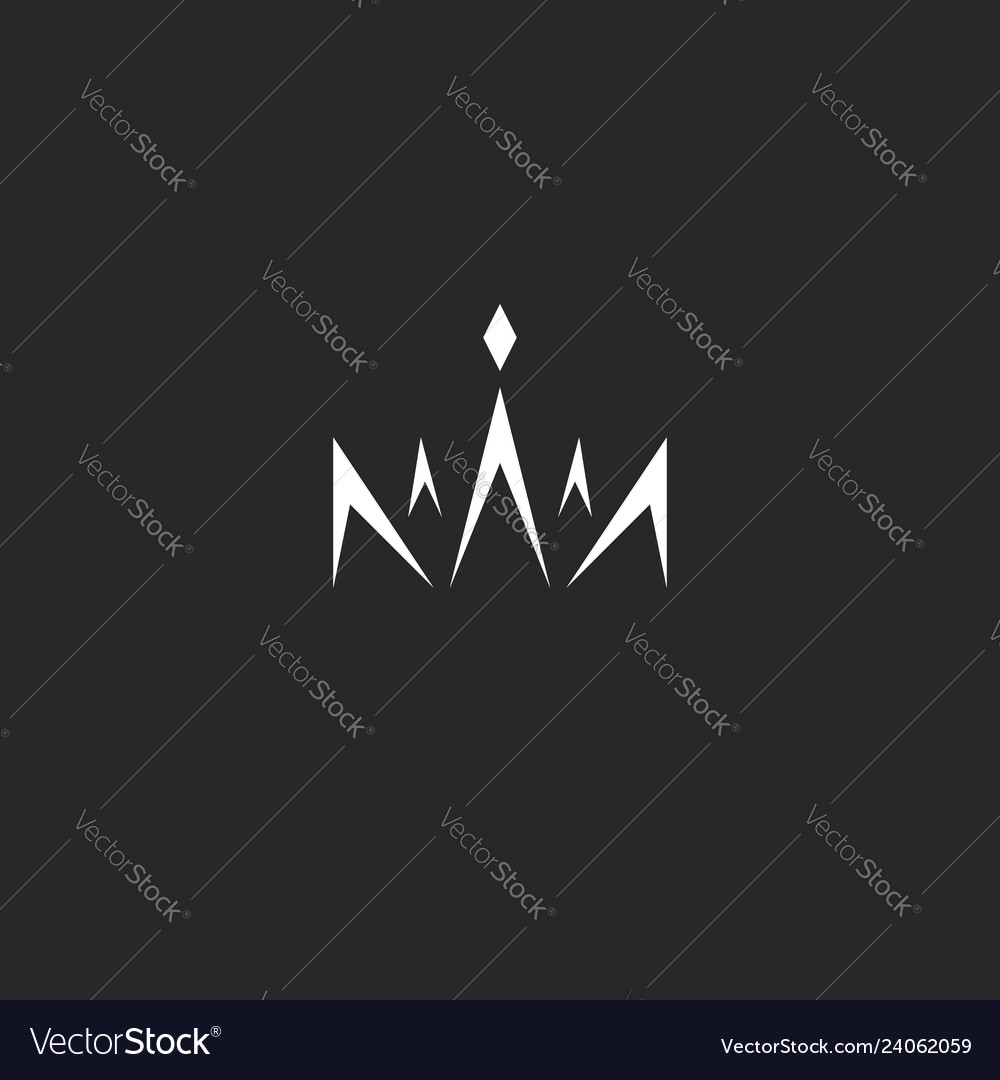 Abstract crown logo in style monogram black