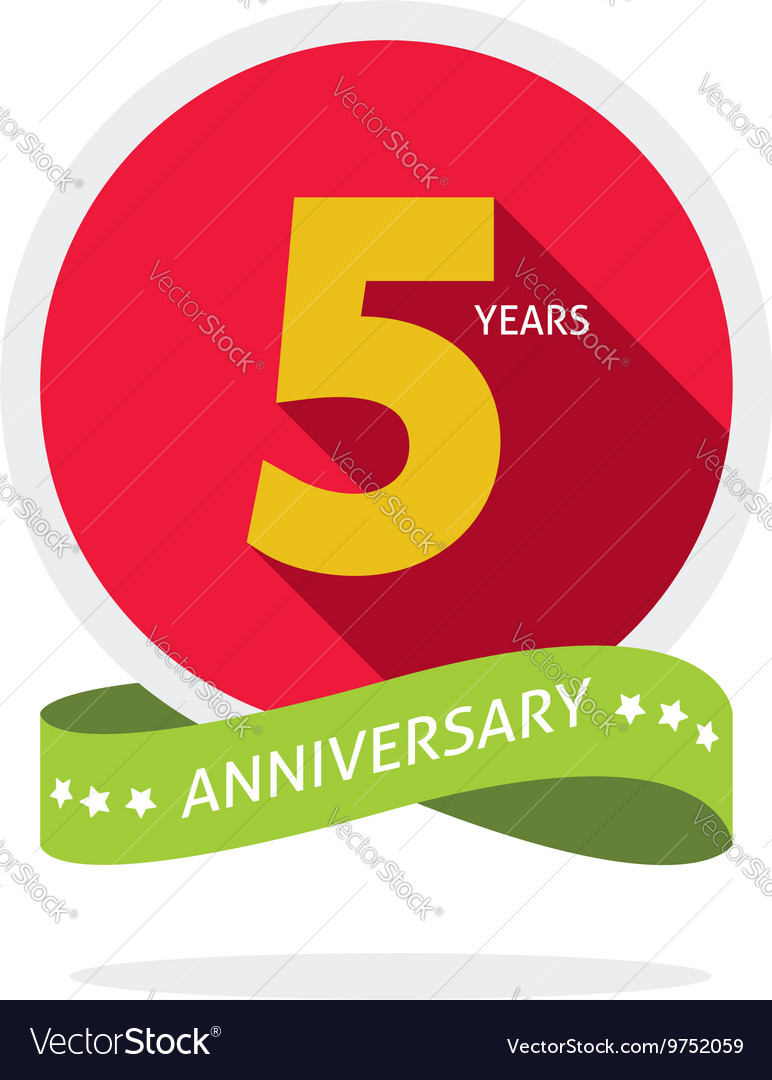 Anniversary 5 years logo badge 5th birthday flat vector image