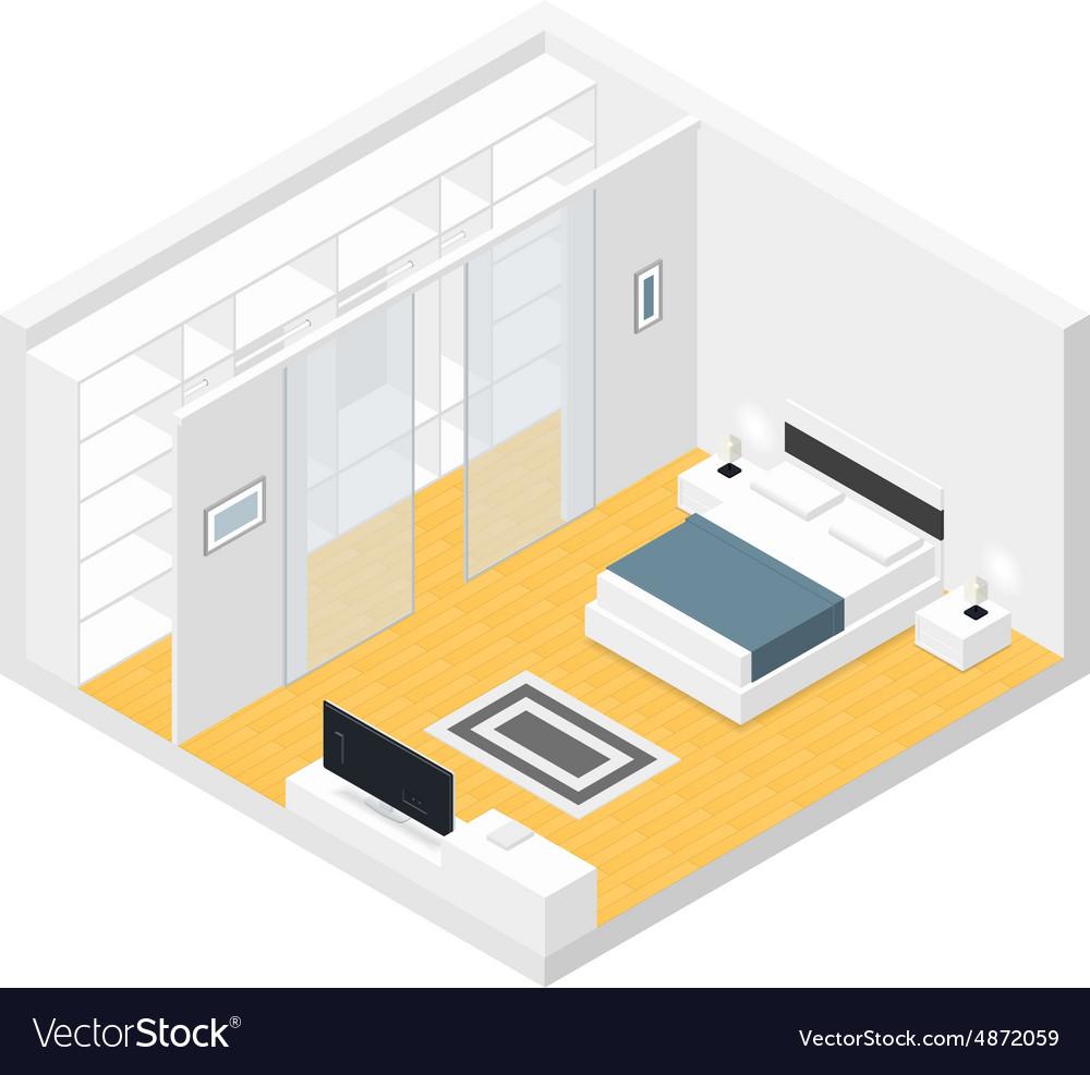 Bedroom isometric set vector image