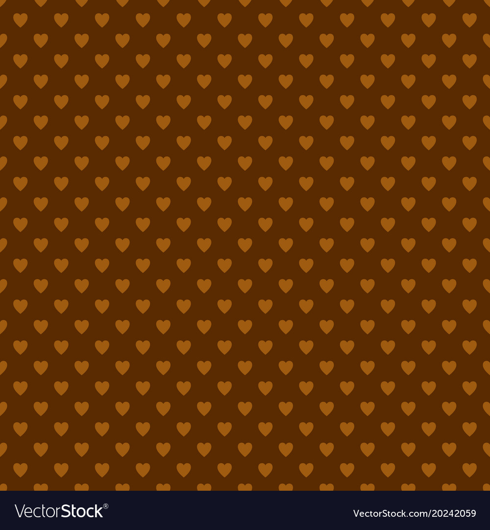 Brown repeating heart background pattern vector image