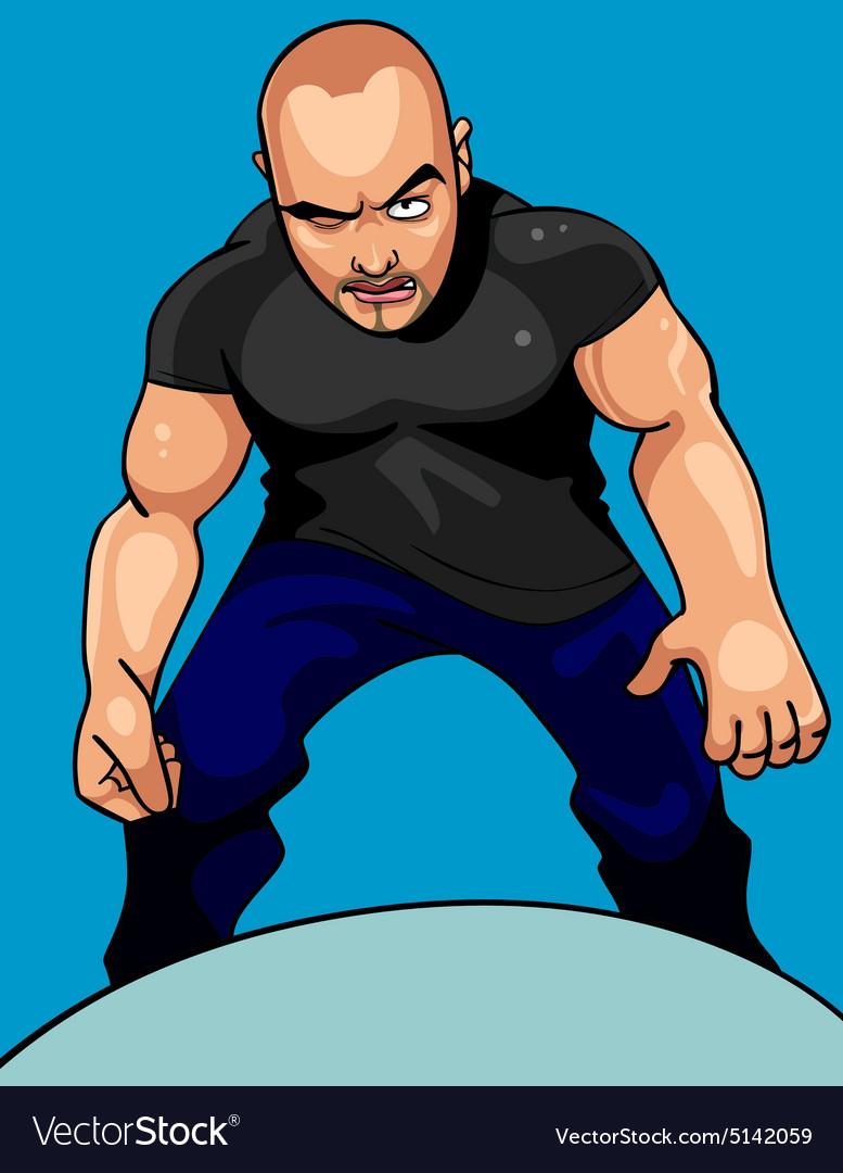 Cartoon aggressive man looking sullenly