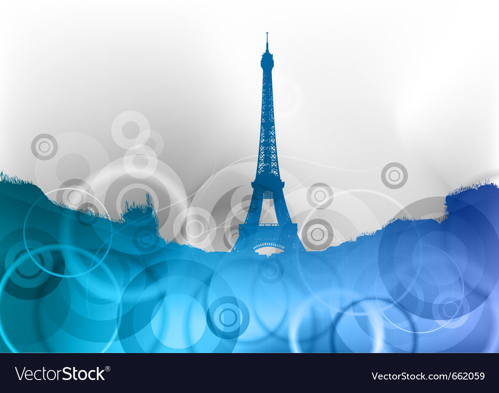 Eiffel tower on the blue abstract background