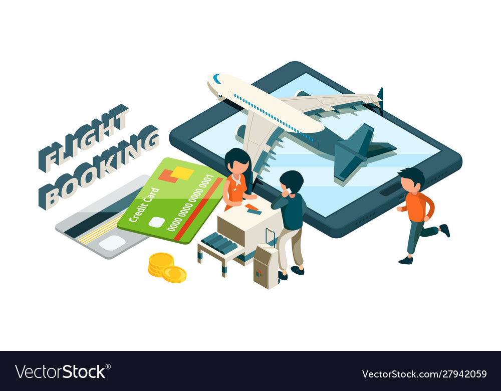 Flight booking buying tickets online isometric