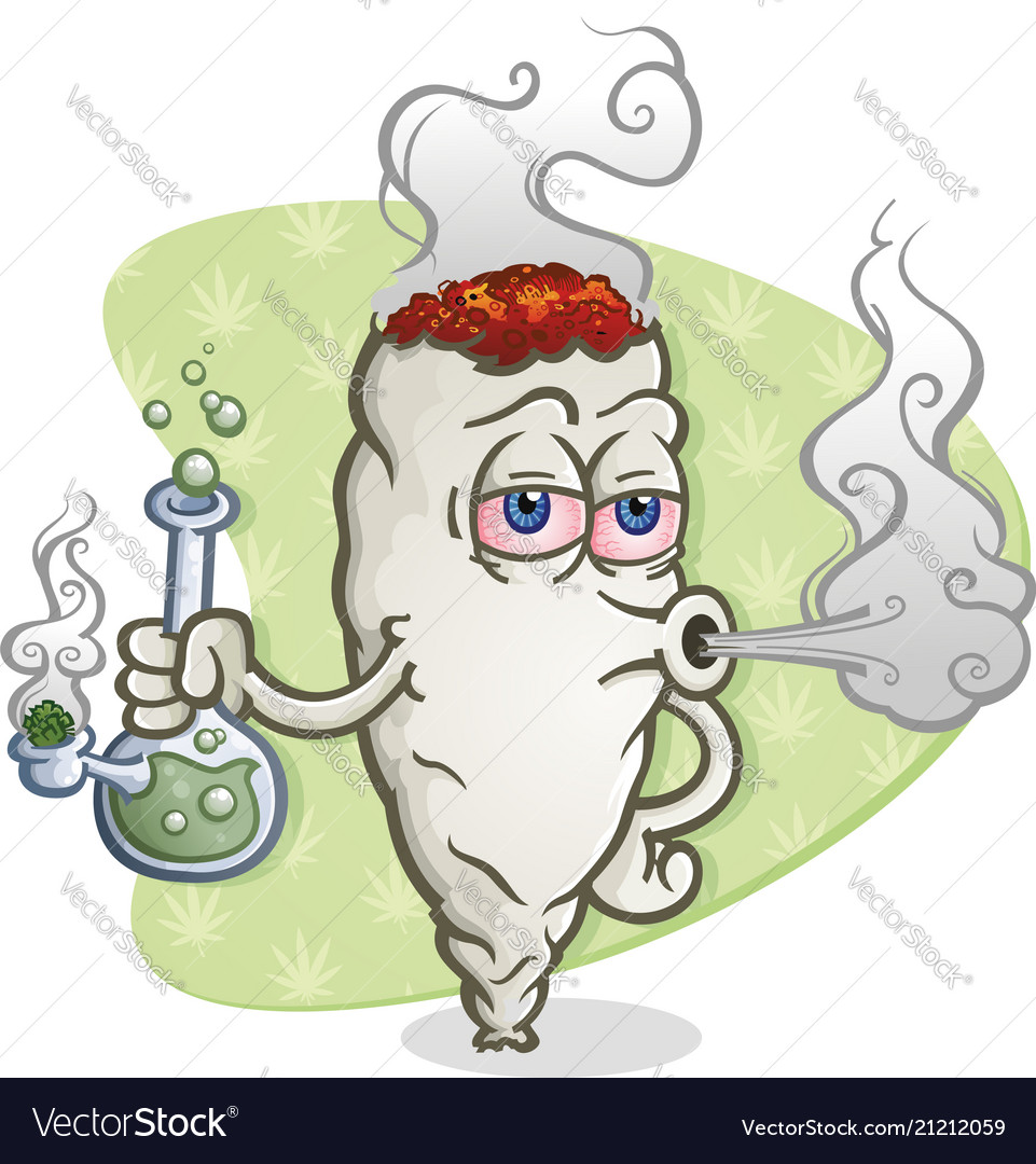 Marijuana Joint Cartoon Character Smoking A Bong Vector Image