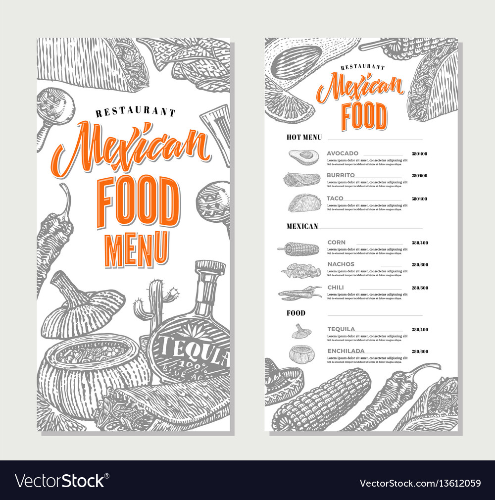 Mexican Food Restaurant Menu Template Royalty Free Vector
