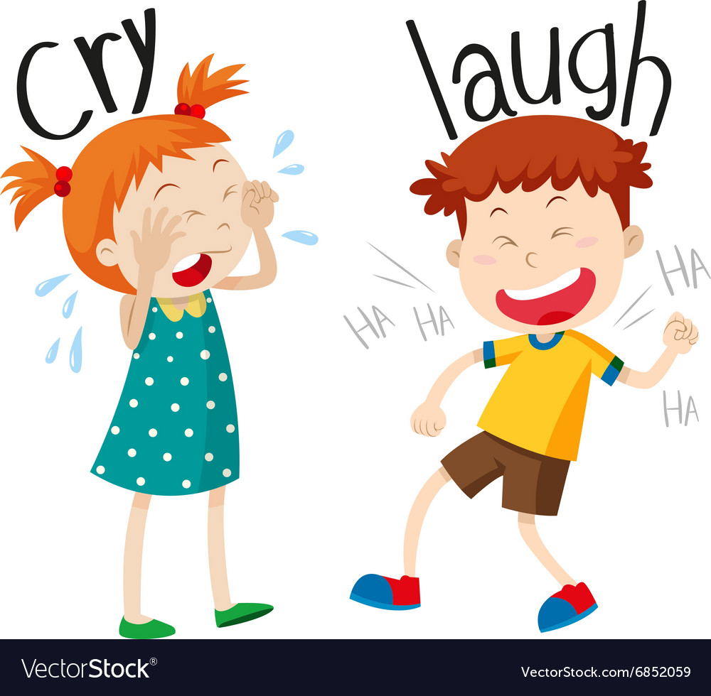 Opposite adjectives cry and laugh vector image