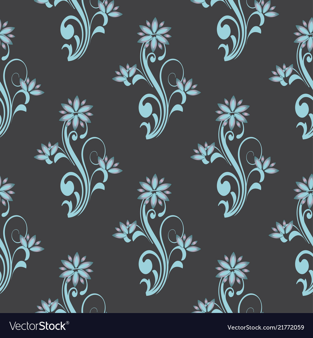 Seamless pattern with floral curve decorative