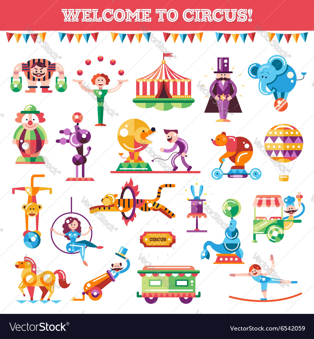 Set of modern flat design circus and carnival