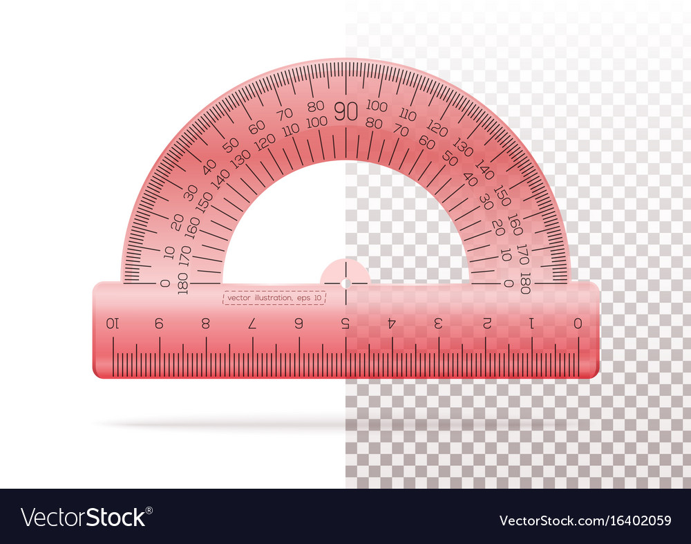Transparent plastic red protractor vector image