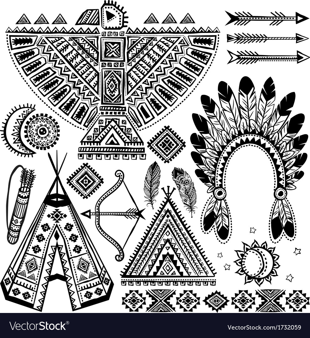 tribal native american set of symbols royalty free vector