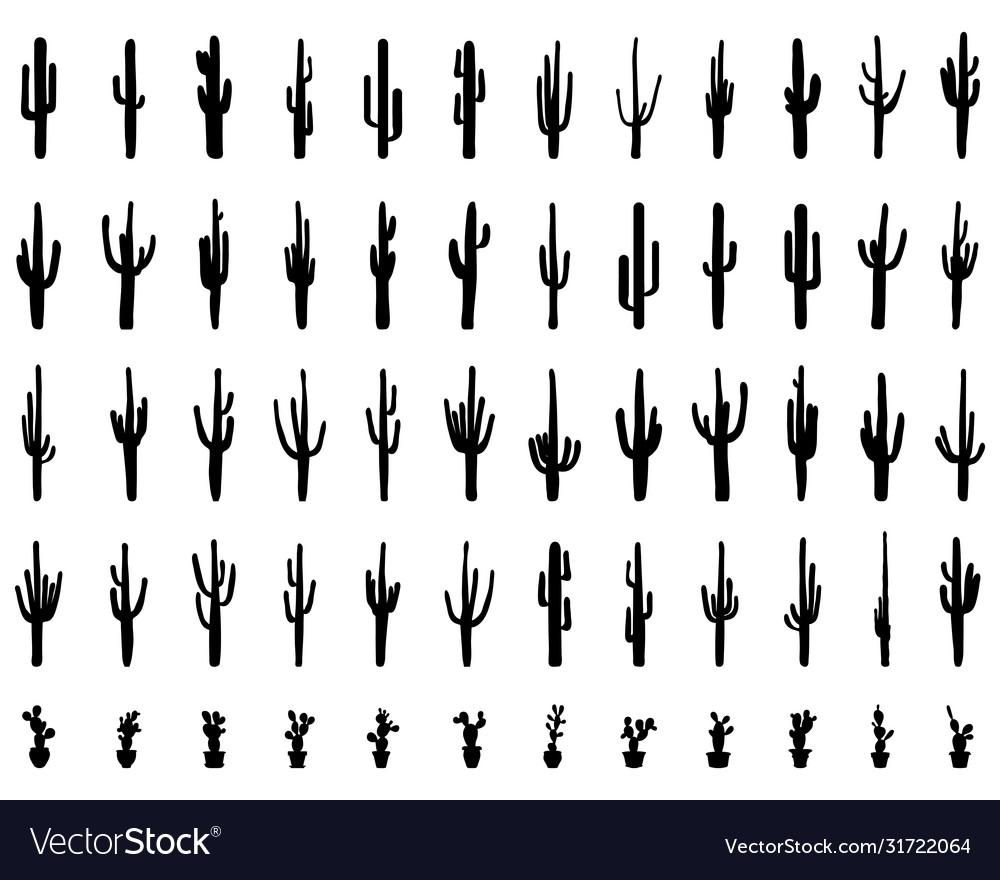 Black silhouettes cactus