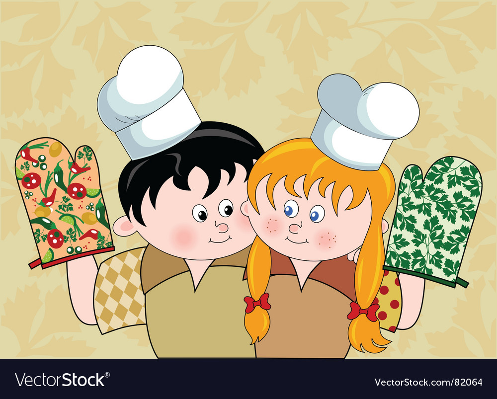 fun girl wallpaper. Boy And Girl With Chef's Hats Vector. Artist: adi_grosu; File type: Vector