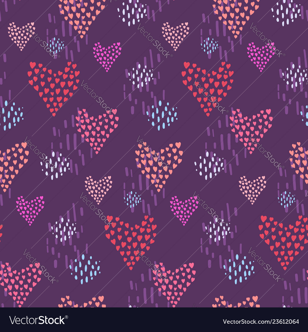 Dark Pattern With Pink Hearts And Dotted Elements