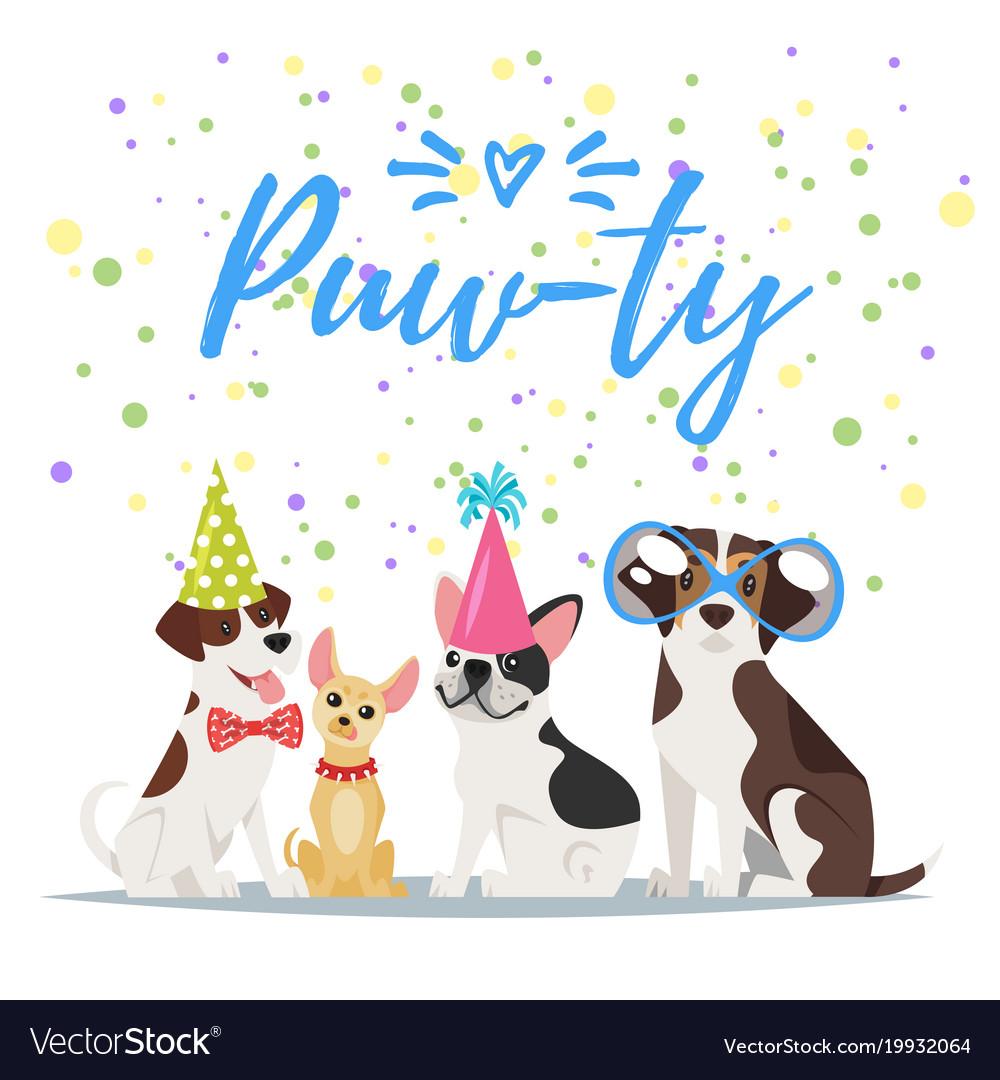 Dog Birthday Party Greeting Card Royalty Free Vector Image