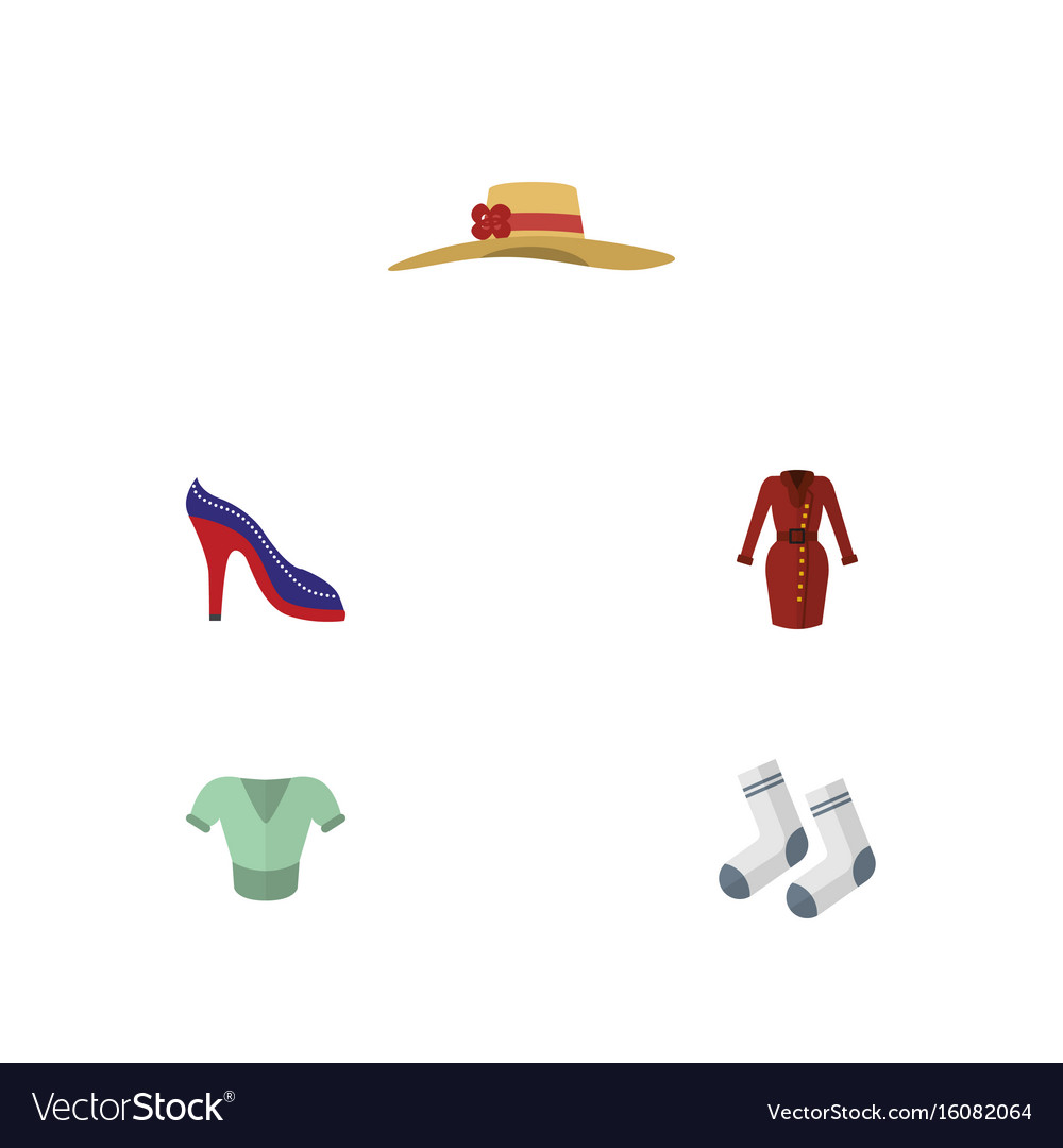 Flat icon dress set of casual heeled shoe vector image