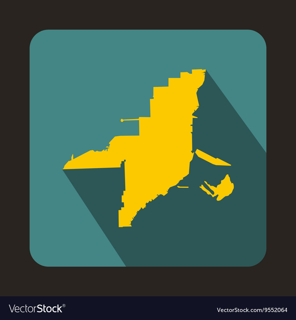 florida yellow map icon flat style royalty free vector image