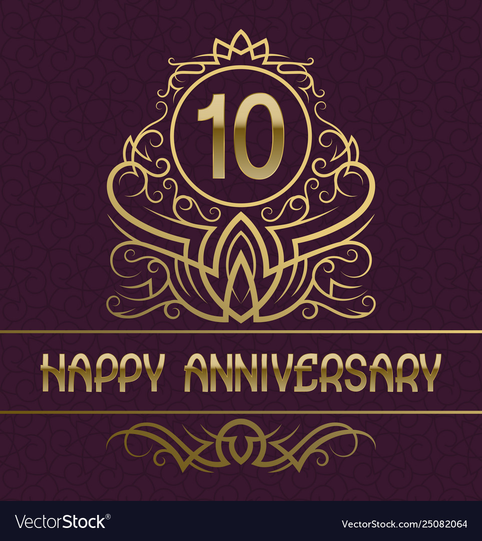 Happy anniversary greeting card template for ten Vector Image