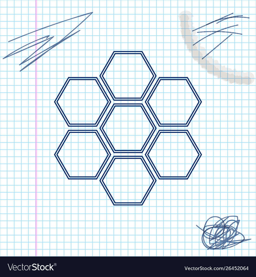 Honeycomb sign line sketch icon isolated on white