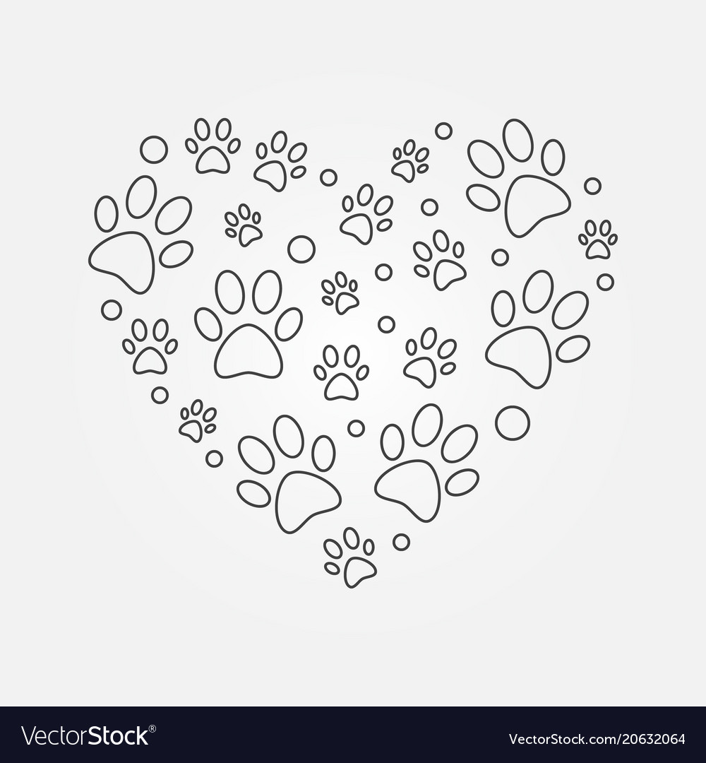 Paw prints in heart shape outline