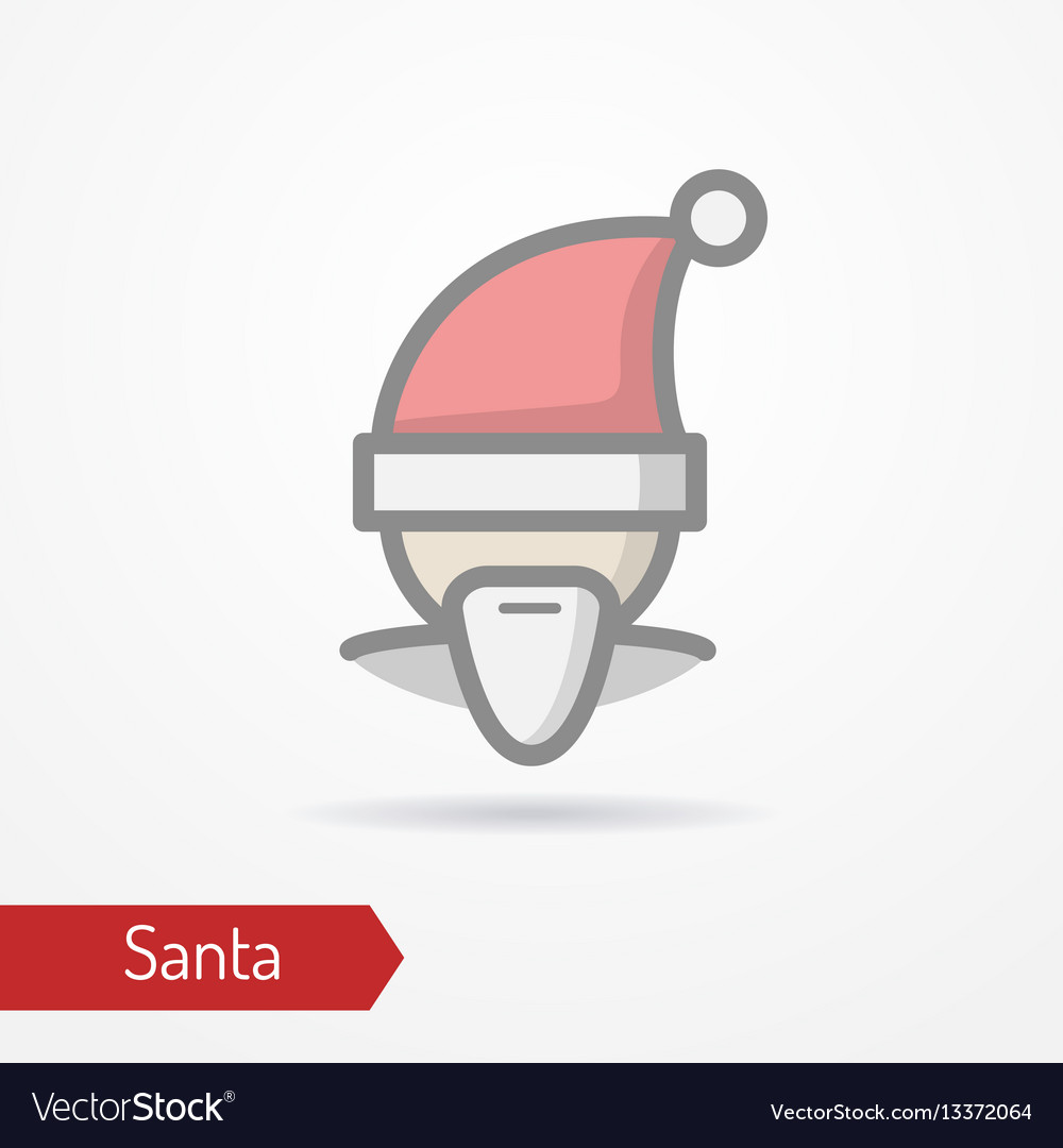 Santa claus in new year hat icon